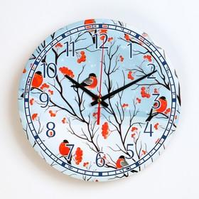 """Часы настенные, серия: Новый год, """"Снегири"""", d=24 см, плавный ход"""