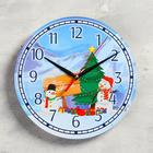 "Wall clock, series: New year, ""Gifts of snowmen"", d=24 cm, smooth running"
