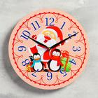 "Wall clock, series: New year, ""Santa Claus and penguins"", d=24 cm, smooth running"