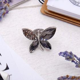 """Значок """"Бабочка"""", цвет серый в серебре"""
