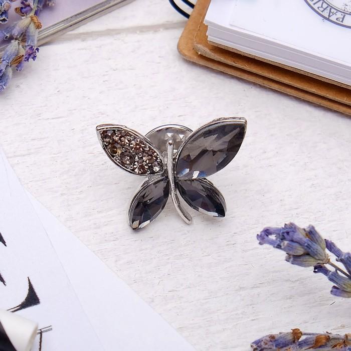 """Брошь """"Бабочка"""", цвет серый в серебре"""