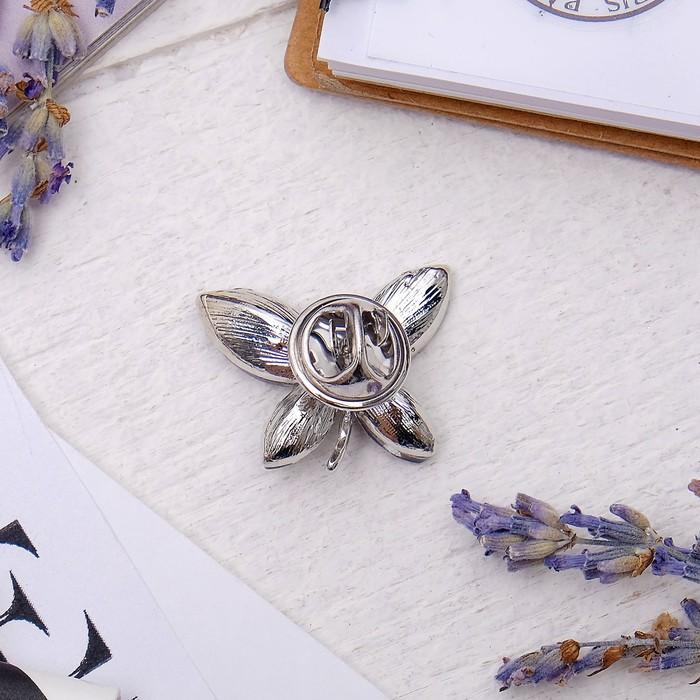 """Брошь """"Бабочка"""", цвет серый в серебре - фото 299532544"""