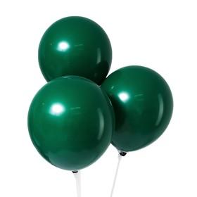 """Шар латексный 12"""", пастель, набор 12 шт., цвет тёмно-зелёный"""