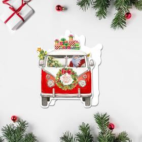 """Postcard under the candy """"Happy New Year!» Santa Claus in the car, 9 × 9 cm"""