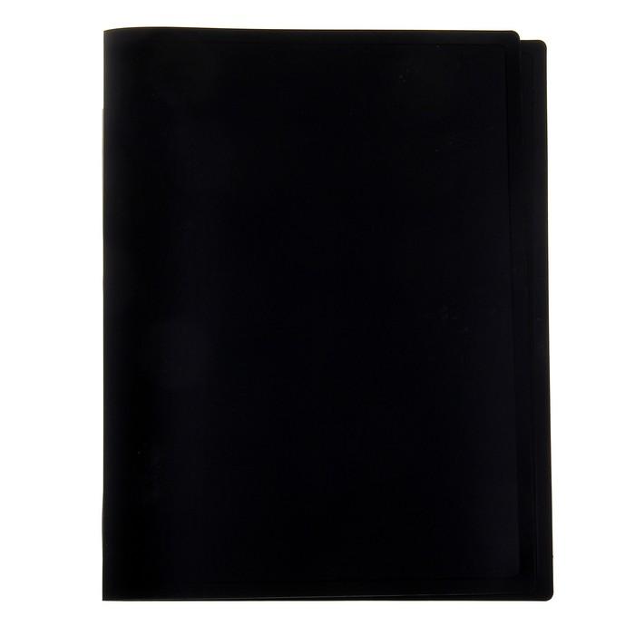 Папка с зажимом А4 500мкм, торцевая наклейка, черная