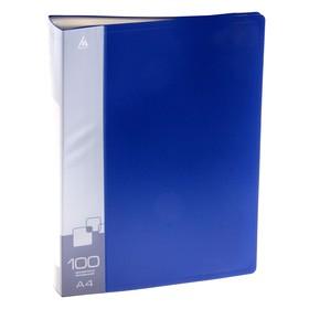 Папка с 100 прозрачными вкладышами А4, 800мкм, торцевой карман с бумажной вставкой, синяя Ош