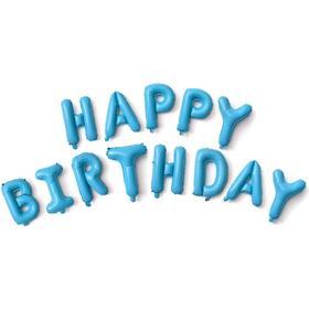 """Шары фольгированные 16"""" Happy Birthday, набор букв, цвет голубой"""
