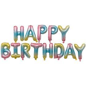 """Шары фольгированные 16"""" Happy Birthday, набор букв, нежная радуга"""
