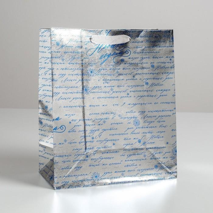 Пакет металлизированный горизонтальный «С Новым годом!», ML 23 х 27 х 11.5 см