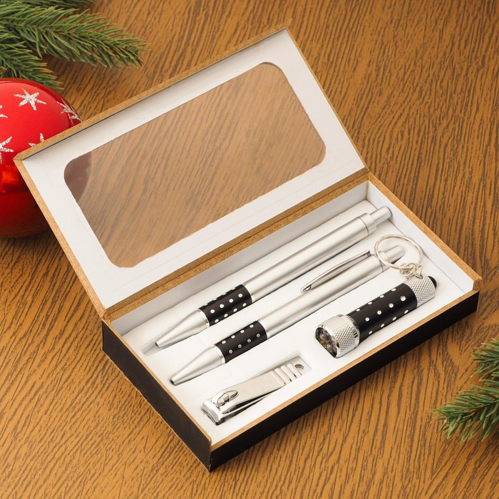 Набор подарочный 4в1 (2 ручки, кусачки, фонарик черный) - фото 497276
