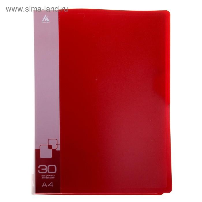 Папка с 30 прозрачными вкладышами А4, 600мкм, торцевой карман с бумажной вставкой, красная