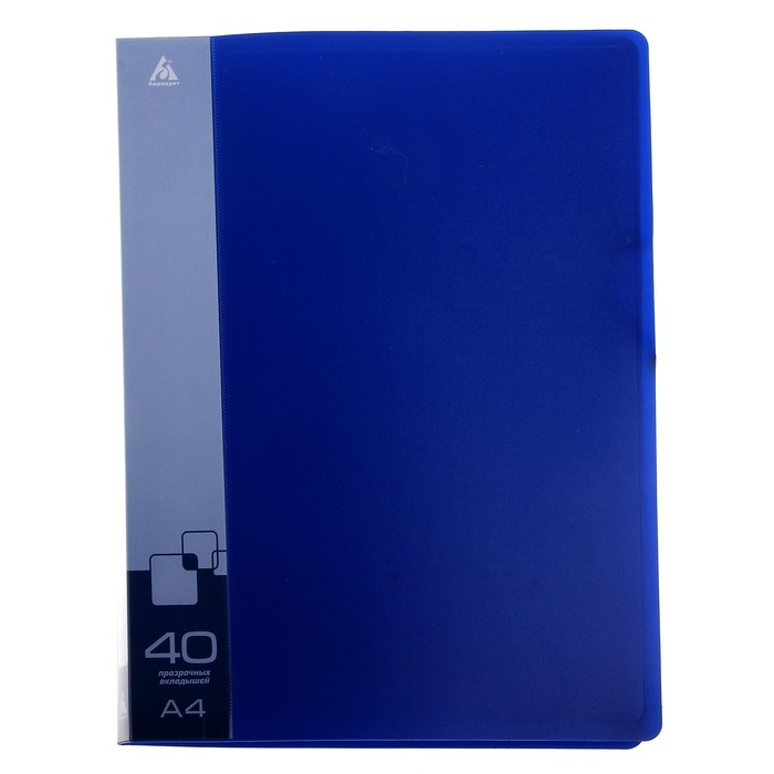 Папка с 40 прозрачными вкладышами А4, 650мкм, торцевой карман с бумажной вставкой, синяя
