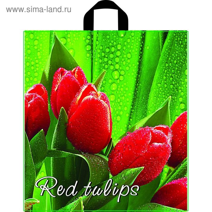 """Пакет """"Красный тюльпан"""" полиэтиленовый, с петлевой ручкой, 40х43,5 см, 35 мкм"""