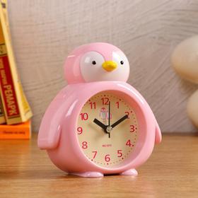"""Часы настольные детские """"Пингвин"""", розовый, дискретный ход, d=7 см, 1 АА"""