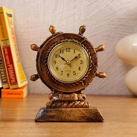 """Часы настольные """"Штурвал"""", 1 АА, дискретный ход,  12.5х4.3х15.5 см"""