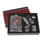 Набор подарочный 6в1: фляжка 270 мл, 2 рюмки, воронка, брелок, нож 7в1, коричневый, перья