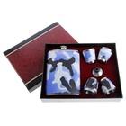 Набор подарочный 6в1: фляжка 270 мл, 4 рюмки, воронка, хаки синий