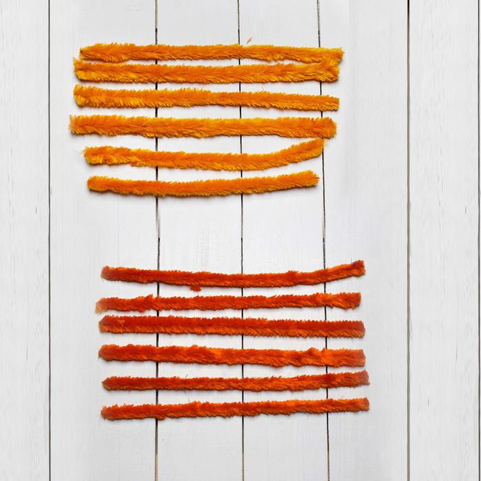 Проволока с ворсом для творчества, набор 6 шт., размер 1 шт: 30×2 см, цвет оттенки оранжевого - фото 415054
