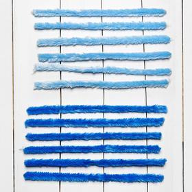 Проволока с ворсом для творчества, набор 6 шт., размер 1 шт: 30×2 см, цвет оттенки голубого