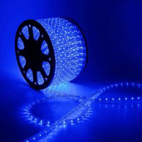 LED шнур 13 мм, круглый, 98 м, фиксинг, 2W-LED/м-36-220V. в компл. набор д/подкл,СИН. Ош