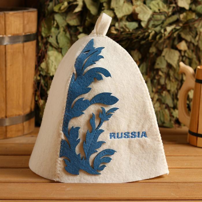 """Шапка банная """"Орнамент голубой"""" - фото 1739430"""
