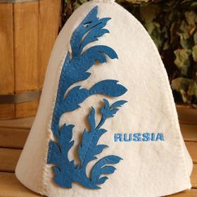 """Шапка банная """"Орнамент голубой"""" - фото 1739431"""
