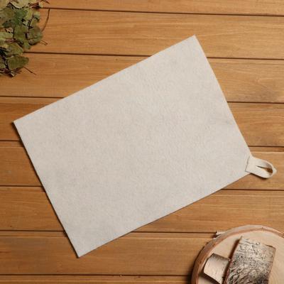 Bath and sauna Mat, white felt, 30×40 cm
