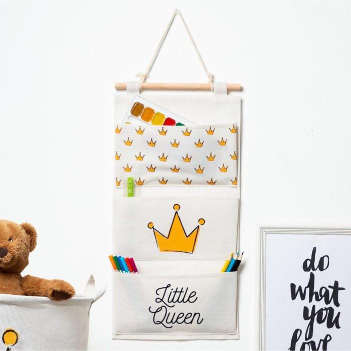"""Кармашек текстильный Этель """"Little queen"""", 3 отделения, 26х50 см, водонепроницаемый - фото 762445"""