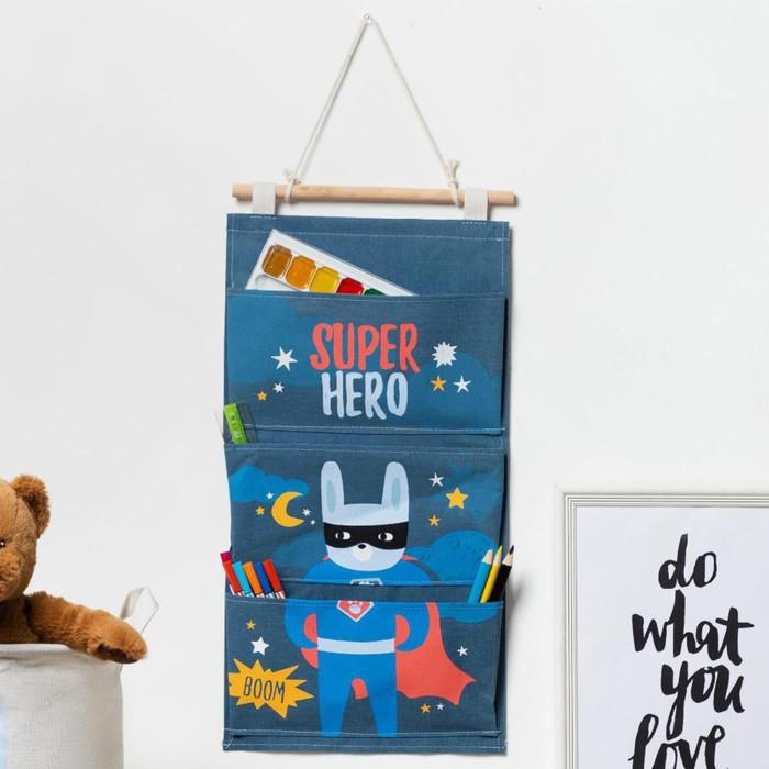 """Кармашек текстильный Этель """"Super hero"""", 3 отделения, 26х50 см, водонепроницаемый"""