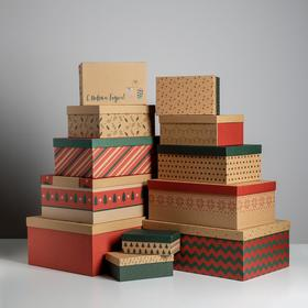 Набор коробок подарочных 12 в 1 «Крафт», 18 х 11 х 6.5 см - 46,6 х 35,2 х 17.5 см