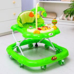 Ходунки «Цветок», 8 силик. колес, тормоз, муз., игрушки, зеленый