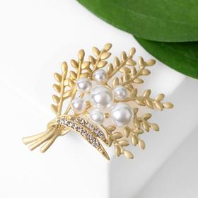 """Brooch """"Twig"""" nature, color white in matte gold"""