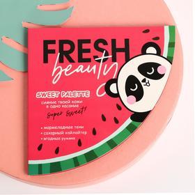 """Палетка румяна, хайлайтер +  тени для глаз (4 цвета) """"Fresh Beauty"""""""