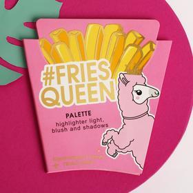 """Палетка румяна, хайлайтер +  тени для глаз (4 цвета) """"Fries Queen"""""""