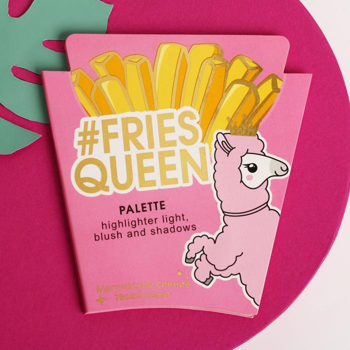 Палетка для макияжа Fries queen, румяна, хайлайтер и тени для век, 4 оттенка