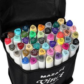 Набор двухсторонних маркеров для скетчинга Mazari VINCI, 48 цветов, трёхгранный корпус, в чехле