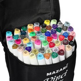 Набор двухсторонних маркеров для скетчинга Mazari VINCI, 60 цветов, трёхгранный корпус, в чехле