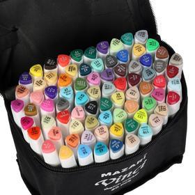 Набор двухсторонних маркеров для скетчинга Mazari VINCI, 80 цветов, трёхгранный корпус, в чехле