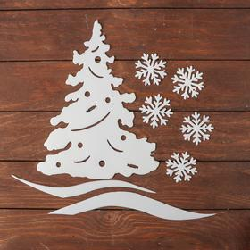 """Set of decorative stickers """"Christmas tree"""", 5 snowflakes, 7 cm, road, Christmas tree with toys"""