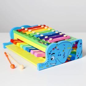 Детская музыкальная игрушка «Металлофон с клавишами и палочкой» 25,5х18х7,5 см