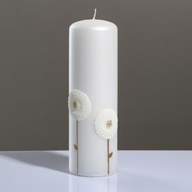 """Свеча - цилиндр """"Одуванчики"""", 6×19 см, белый"""