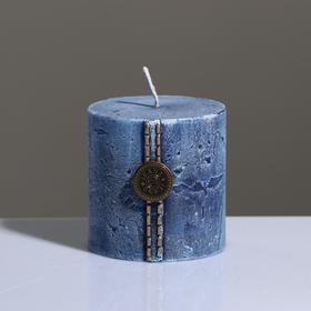 "Свеча - цилиндр ""Кантри Джинс"" , 7×7 см, голубой"
