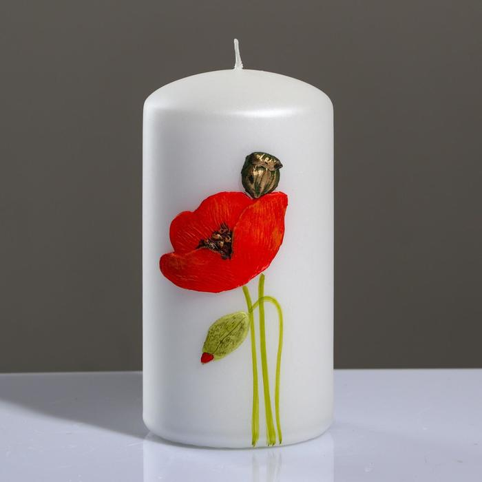 """Свеча - цилиндр """"Маки"""", 7×13 см, жемчужный белый"""
