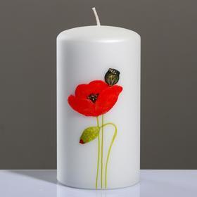 """Свеча - цилиндр """"Маки"""", 8×15 см, жемчужный белый"""