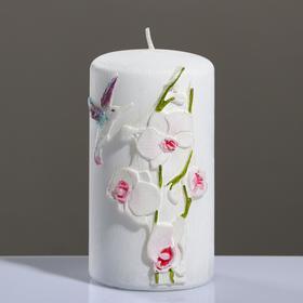 """Свеча - цилиндр """"Орхидея"""", 7×13 см, розовый"""