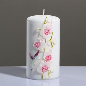 """Свеча - цилиндр """"Орхидея"""", 8×15 см, розовый"""
