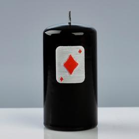 """Свеча - цилиндр """"Покер"""", 6×11,5 см, чёрный"""