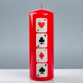 """Свеча - цилиндр """"Покер"""", 7×20 см, красный"""