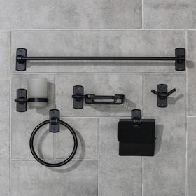 Набор для ванной комнаты «Лофт», 6 предметов, цвет чёрный