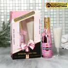 """Набор """"С Новым годом"""" гель для душа в золотой бутылке 250мл, бокал с солью - фото 497550"""